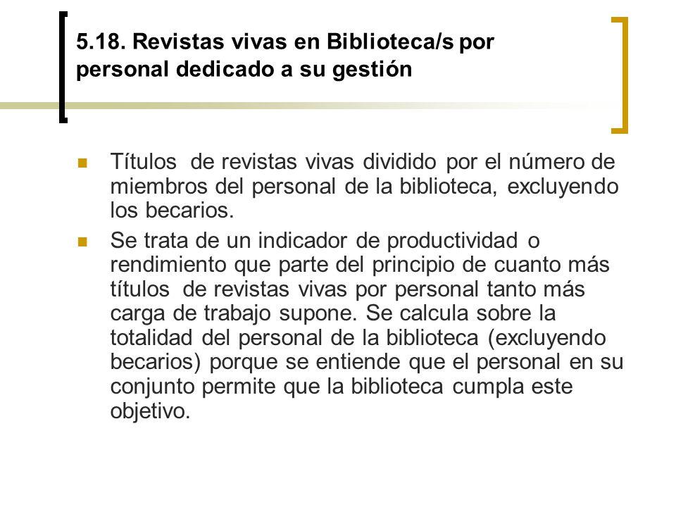 5.18. Revistas vivas en Biblioteca/s por personal dedicado a su gestión