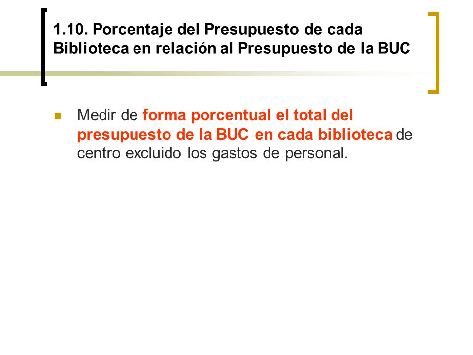 1.10. Porcentaje del Presupuesto de cada Biblioteca en relación al Presupuesto de la BUC