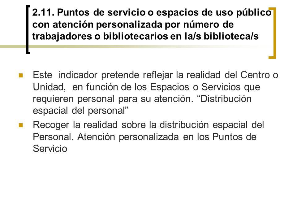 2.11. Puntos de servicio o espacios de uso público con atención personalizada por número de trabajadores o bibliotecarios en la/s biblioteca/s
