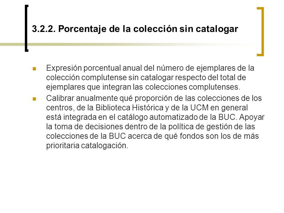3.2.2. Porcentaje de la colección sin catalogar