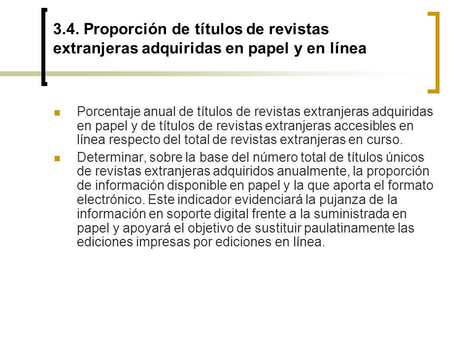 3.4. Proporción de títulos de revistas extranjeras adquiridas en papel y en línea
