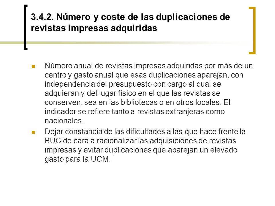 3.4.2. Número y coste de las duplicaciones de revistas impresas adquiridas