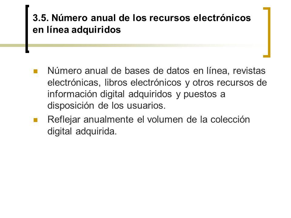 3.5. Número anual de los recursos electrónicos en línea adquiridos