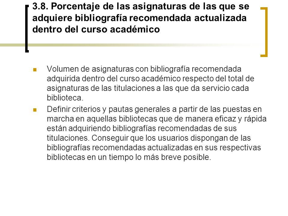 3.8. Porcentaje de las asignaturas de las que se adquiere bibliografía recomendada actualizada dentro del curso académico