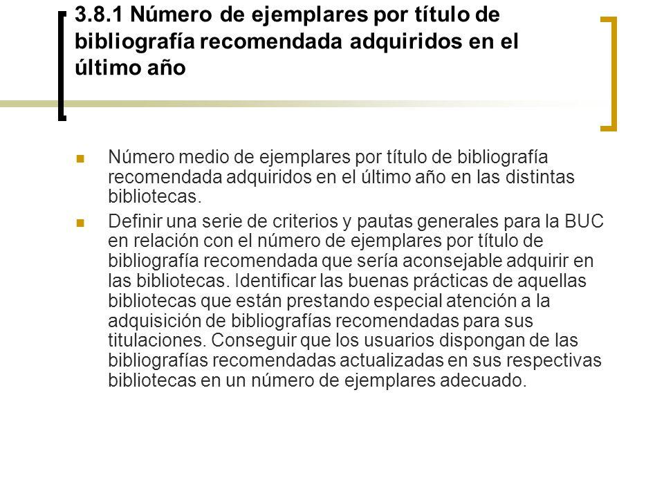 3.8.1 Número de ejemplares por título de bibliografía recomendada adquiridos en el último año
