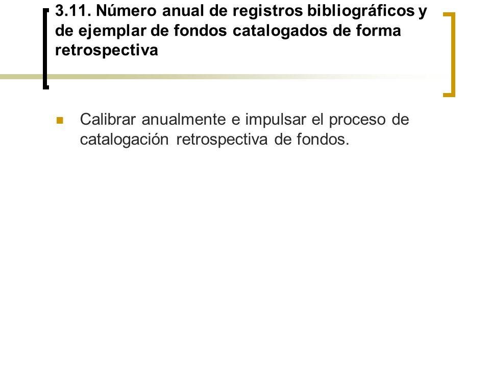 3.11. Número anual de registros bibliográficos y de ejemplar de fondos catalogados de forma retrospectiva
