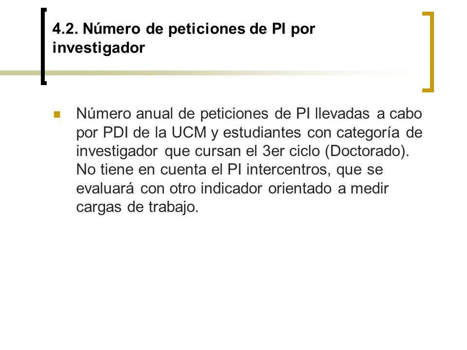 4.2. Número de peticiones de PI por investigador