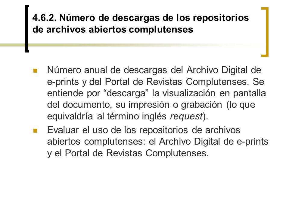 4.6.2. Número de descargas de los repositorios de archivos abiertos complutenses