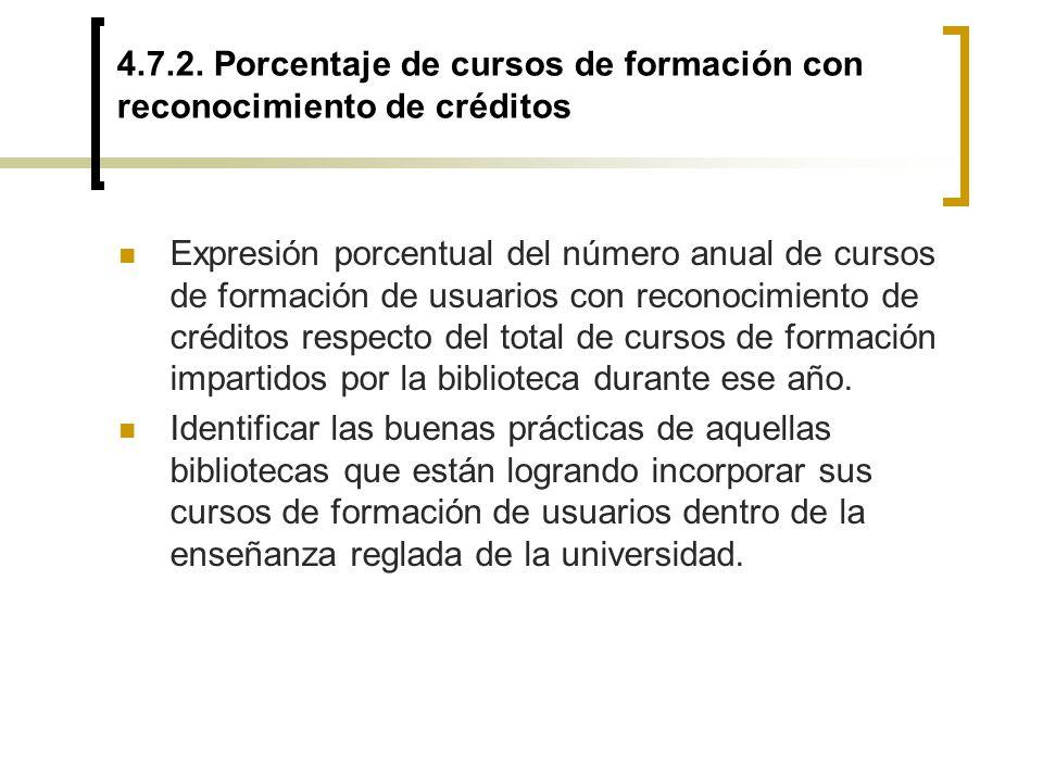 4.7.2. Porcentaje de cursos de formación con reconocimiento de créditos