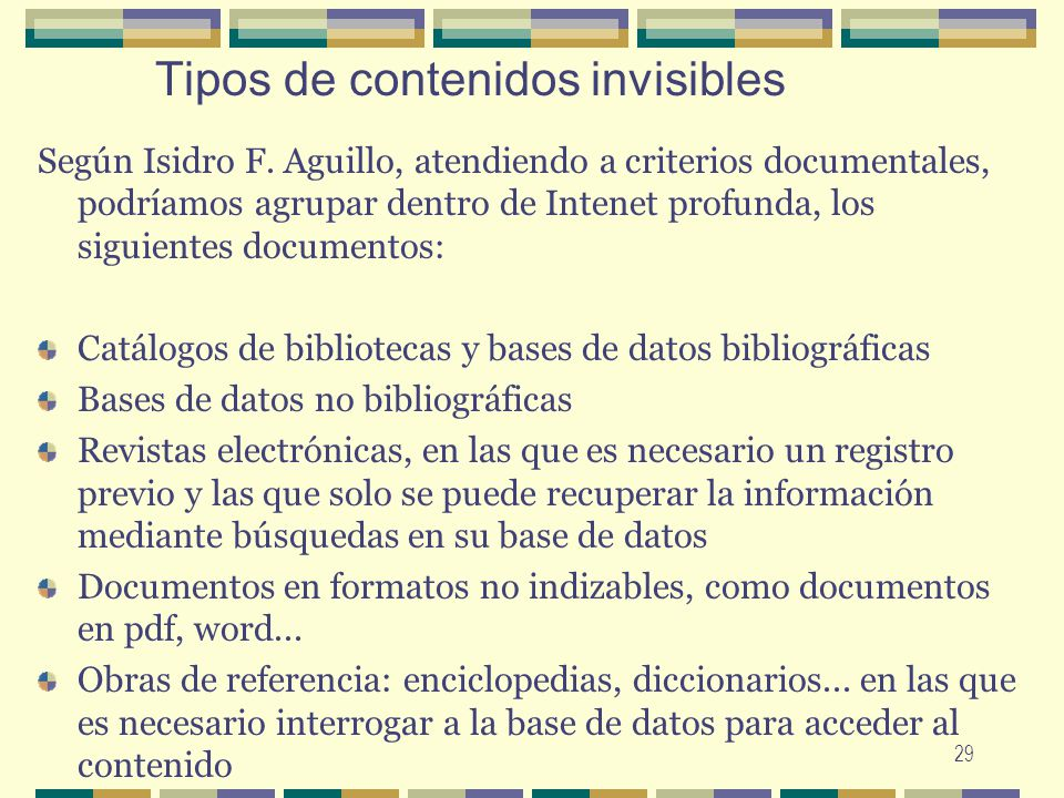 Tipos de contenidos invisibles