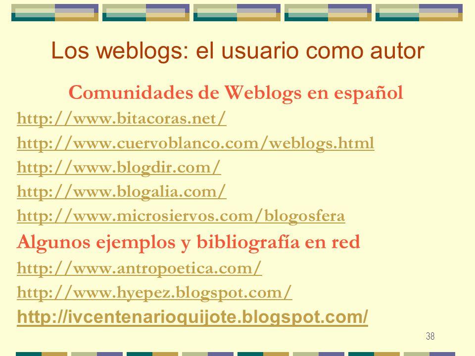 Los weblogs: el usuario como autor