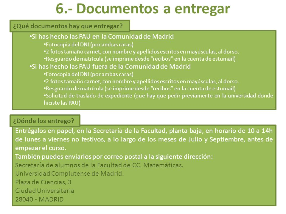 6.- Documentos a entregar