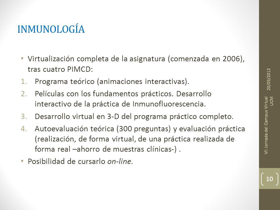 INMUNOLOGÍA Virtualización completa de la asignatura (comenzada en 2006), tras cuatro PIMCD: Programa teórico (animaciones interactivas).