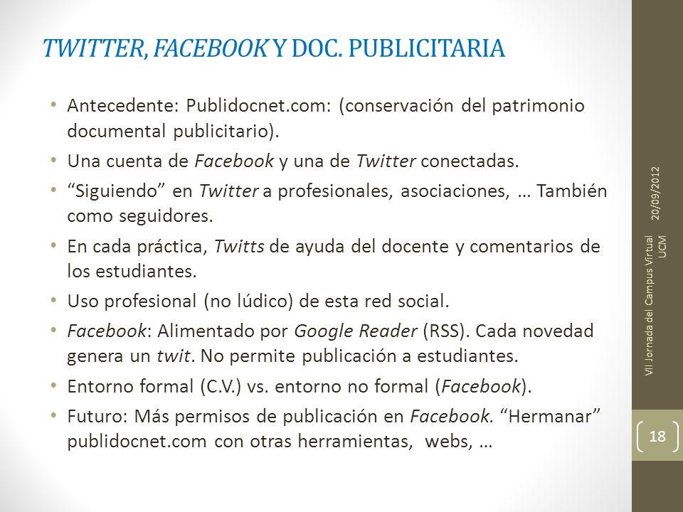 TWITTER, FACEBOOK Y DOC. PUBLICITARIA