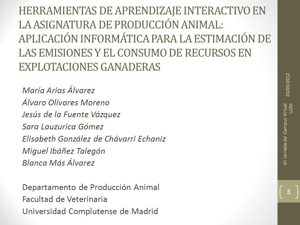 HERRAMIENTAS DE APRENDIZAJE INTERACTIVO EN LA ASIGNATURA DE PRODUCCIÓN ANIMAL: APLICACIÓN INFORMÁTICA PARA LA ESTIMACIÓN DE LAS EMISIONES Y EL CONSUMO DE RECURSOS EN EXPLOTACIONES GANADERAS