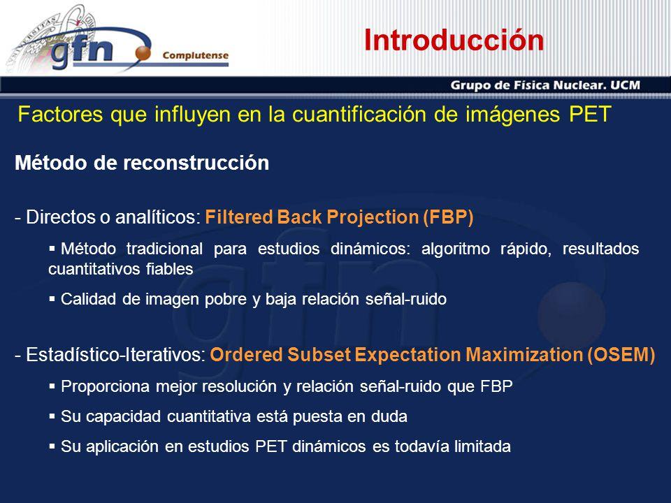 Introducción Factores que influyen en la cuantificación de imágenes PET. Método de reconstrucción.