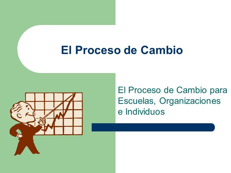 El Proceso de Cambio para Escuelas, Organizaciones e Individuos