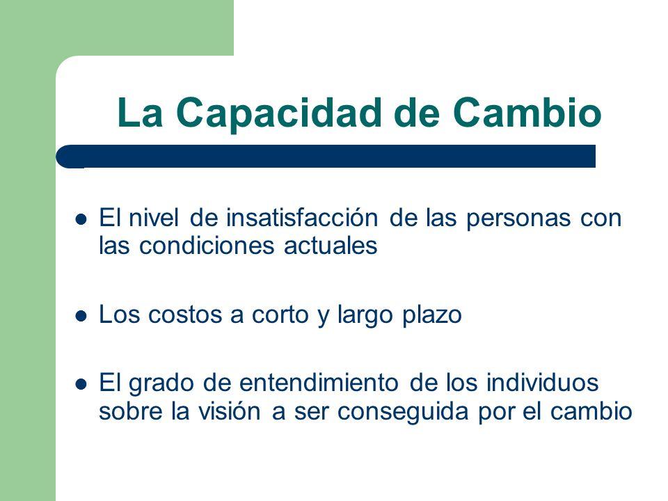 La Capacidad de Cambio El nivel de insatisfacción de las personas con las condiciones actuales. Los costos a corto y largo plazo.