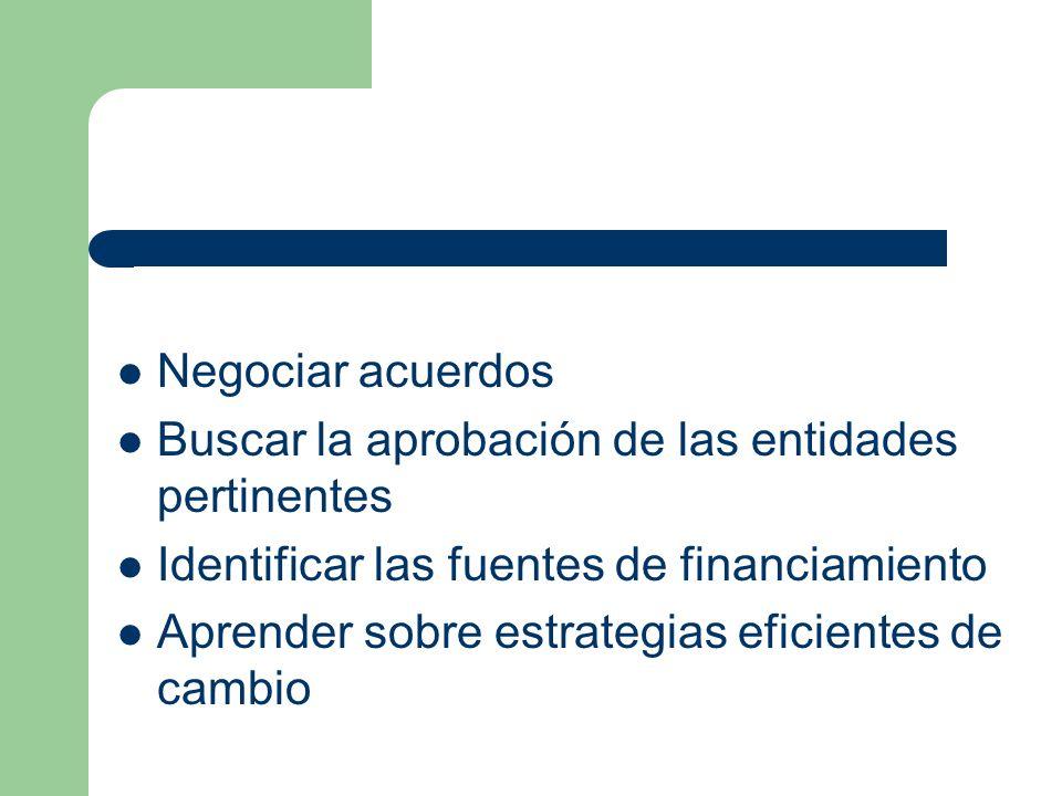 Negociar acuerdos Buscar la aprobación de las entidades pertinentes. Identificar las fuentes de financiamiento.