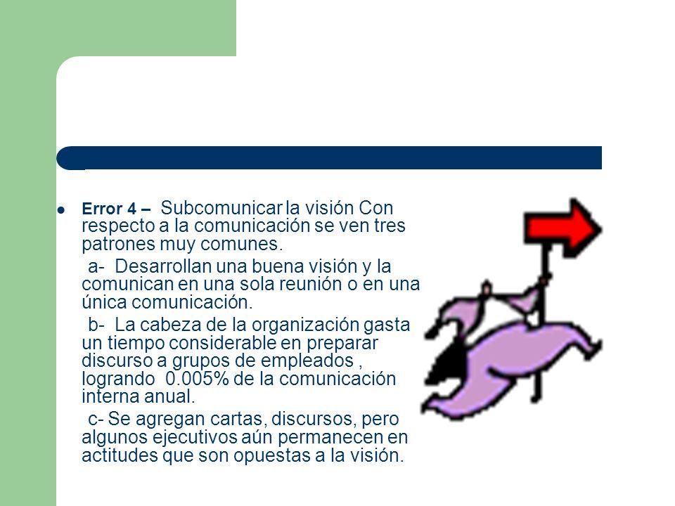 Error 4 – Subcomunicar la visión Con respecto a la comunicación se ven tres patrones muy comunes.
