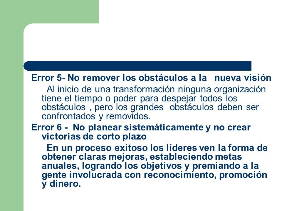 Error 5- No remover los obstáculos a la nueva visión