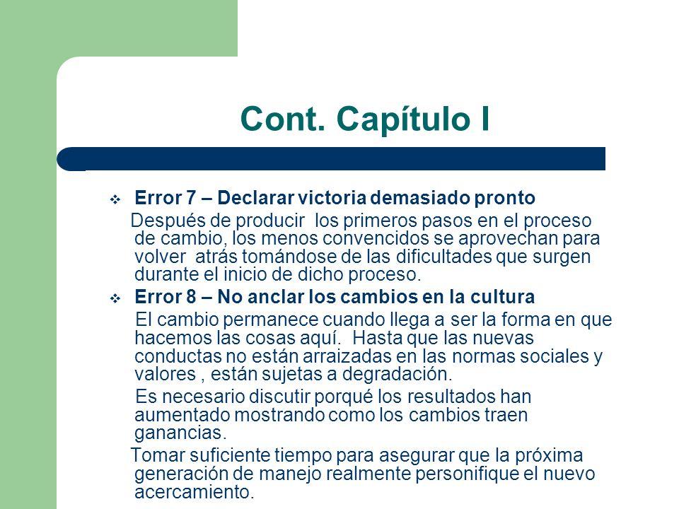 Cont. Capítulo I Error 7 – Declarar victoria demasiado pronto