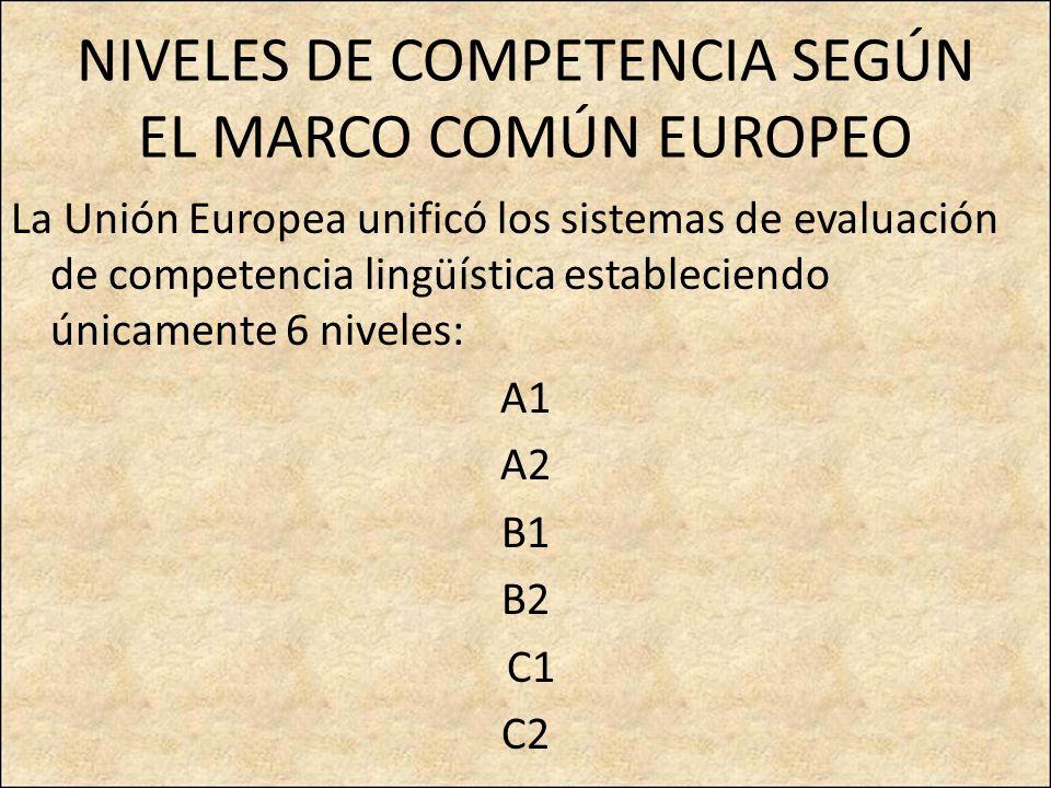 NIVELES DE COMPETENCIA SEGÚN EL MARCO COMÚN EUROPEO