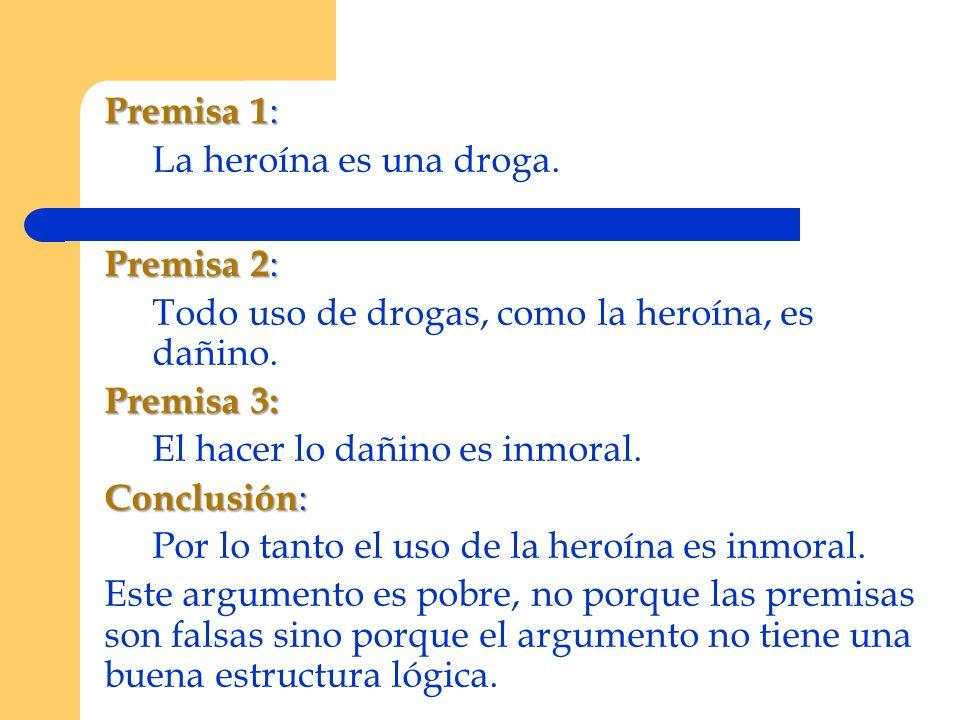 Premisa 1: La heroína es una droga. Premisa 2: Todo uso de drogas, como la heroína, es dañino. Premisa 3: