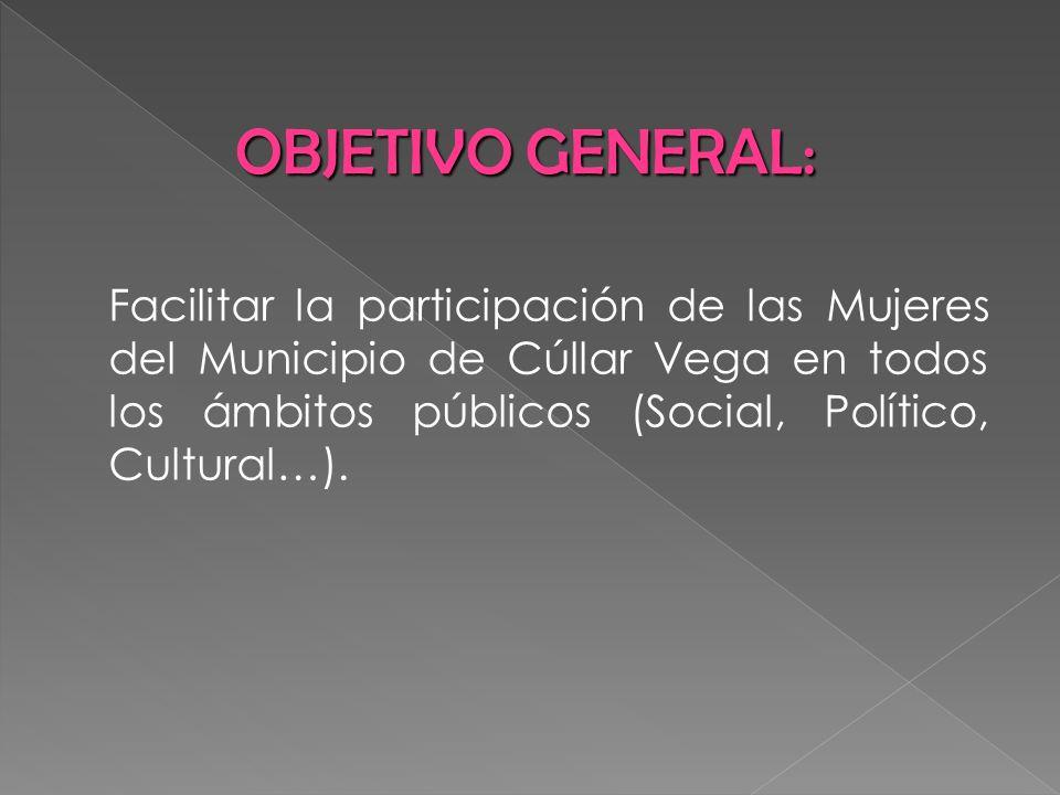 OBJETIVO GENERAL:Facilitar la participación de las Mujeres del Municipio de Cúllar Vega en todos los ámbitos públicos (Social, Político, Cultural…).