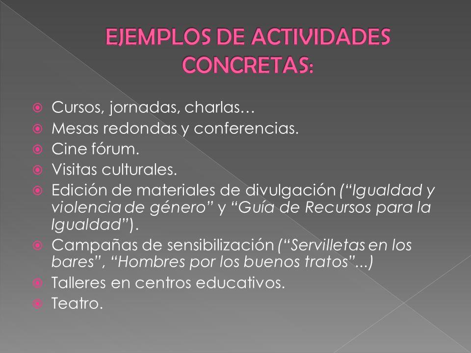 EJEMPLOS DE ACTIVIDADES CONCRETAS: