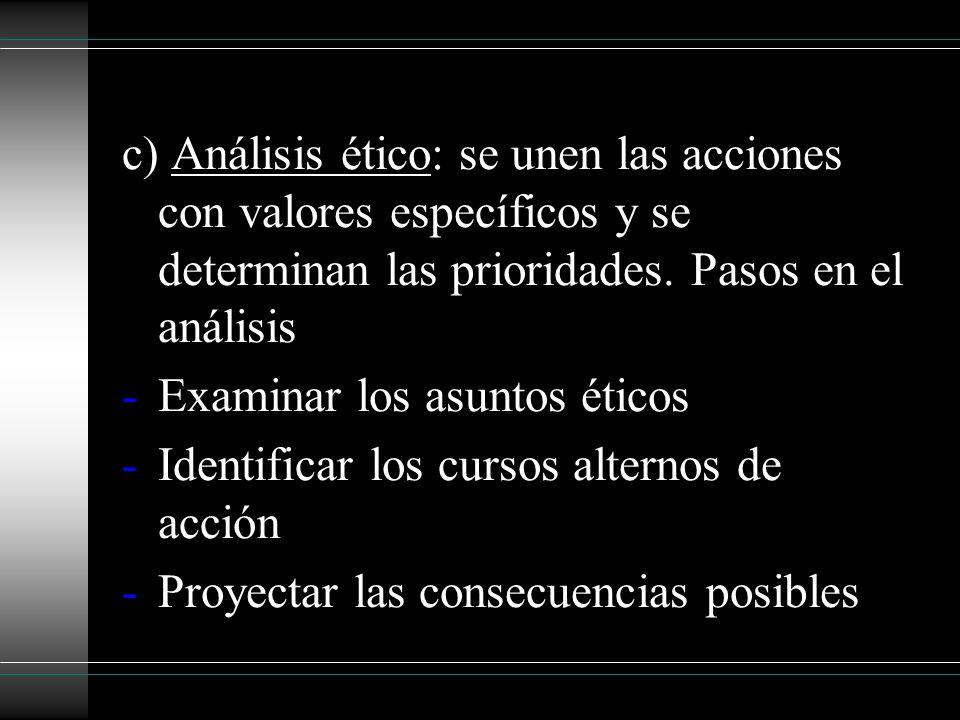 c) Análisis ético: se unen las acciones con valores específicos y se determinan las prioridades. Pasos en el análisis