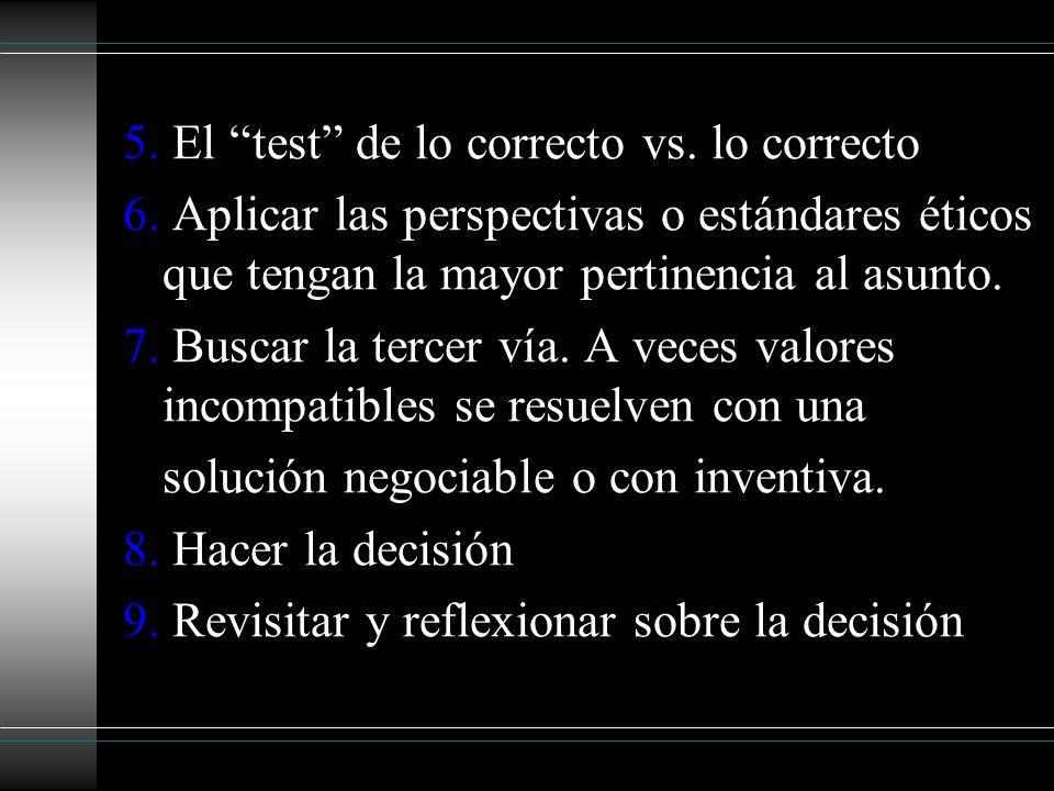 5. El test de lo correcto vs. lo correcto