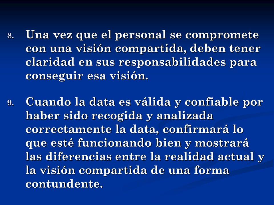 Una vez que el personal se compromete con una visión compartida, deben tener claridad en sus responsabilidades para conseguir esa visión.
