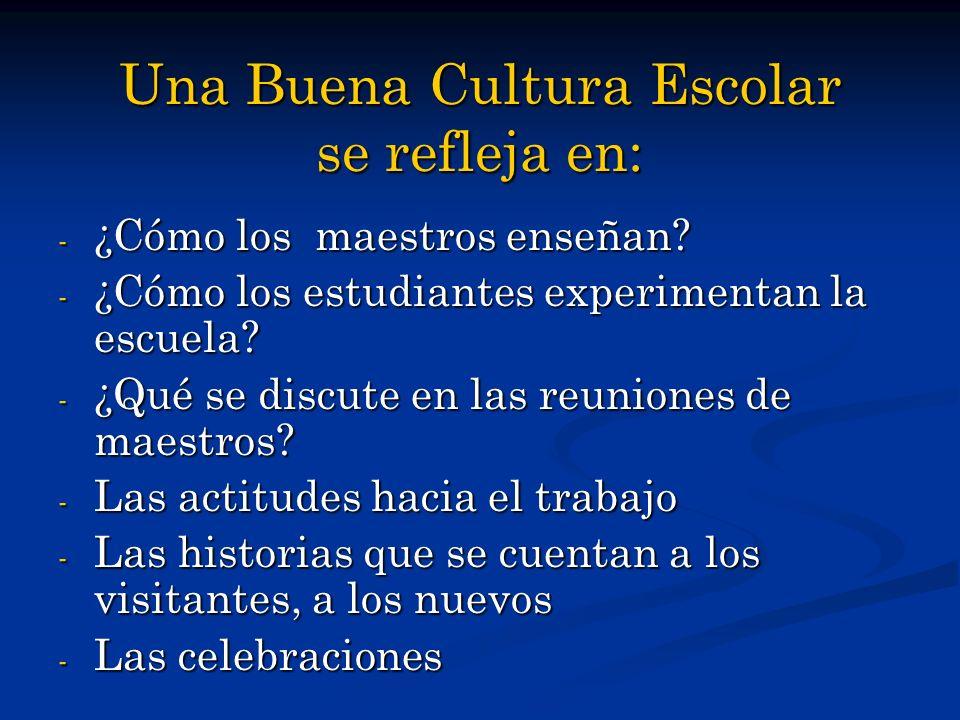 Una Buena Cultura Escolar se refleja en: