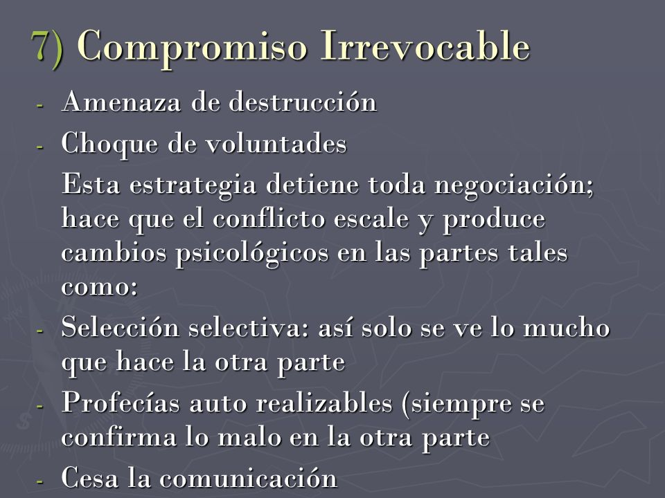 7) Compromiso Irrevocable