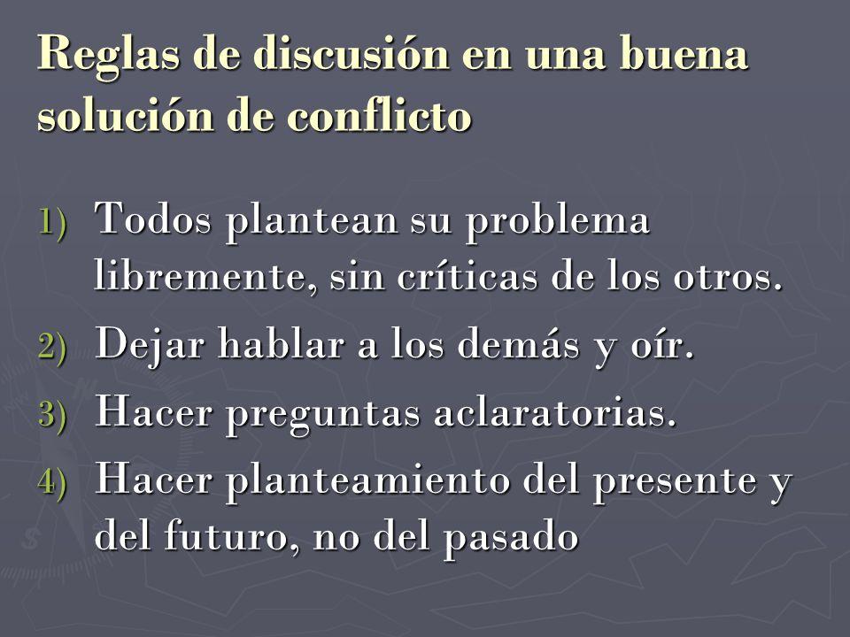 Reglas de discusión en una buena solución de conflicto