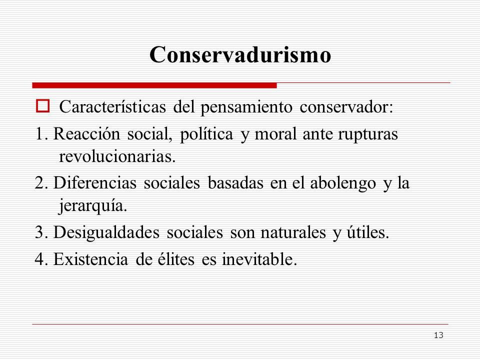 Conservadurismo Características del pensamiento conservador: