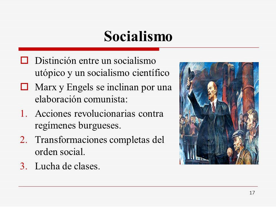 Socialismo Distinción entre un socialismo utópico y un socialismo científico. Marx y Engels se inclinan por una elaboración comunista: