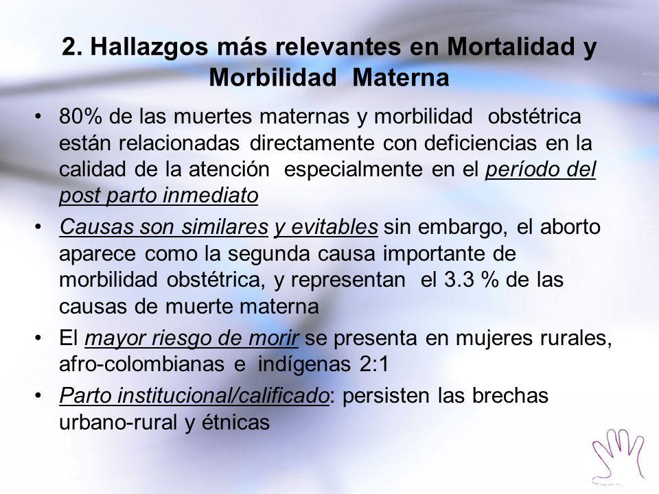 2. Hallazgos más relevantes en Mortalidad y Morbilidad Materna