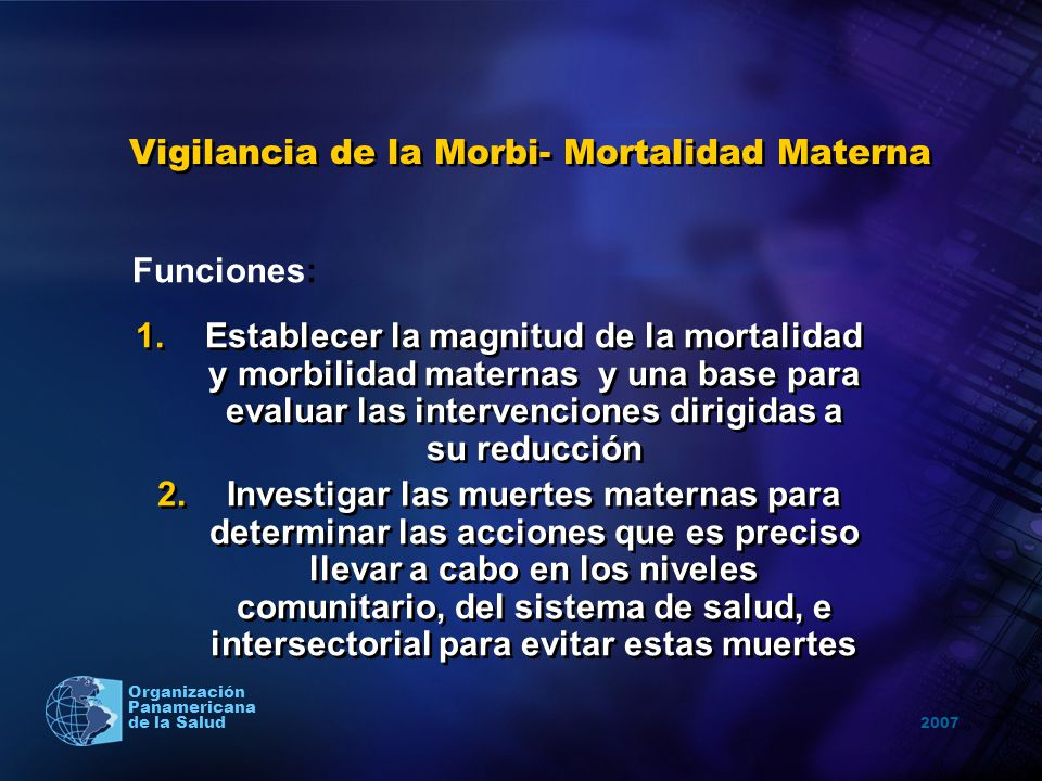 Vigilancia de la Morbi- Mortalidad Materna