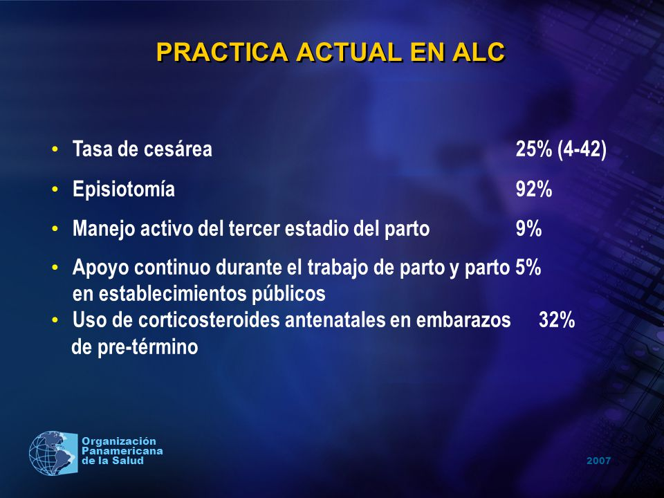 PRACTICA ACTUAL EN ALC Tasa de cesárea 25% (4-42) Episiotomía 92%