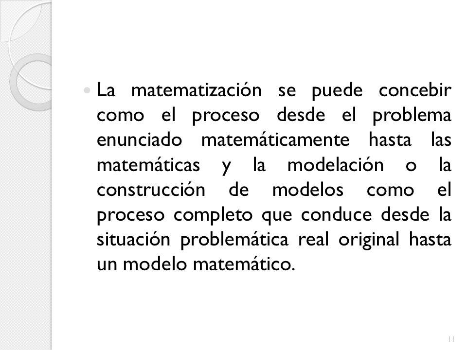 La matematización se puede concebir como el proceso desde el problema enunciado matemáticamente hasta las matemáticas y la modelación o la construcción de modelos como el proceso completo que conduce desde la situación problemática real original hasta un modelo matemático.