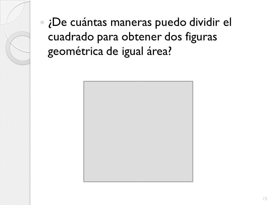 ¿De cuántas maneras puedo dividir el cuadrado para obtener dos figuras geométrica de igual área