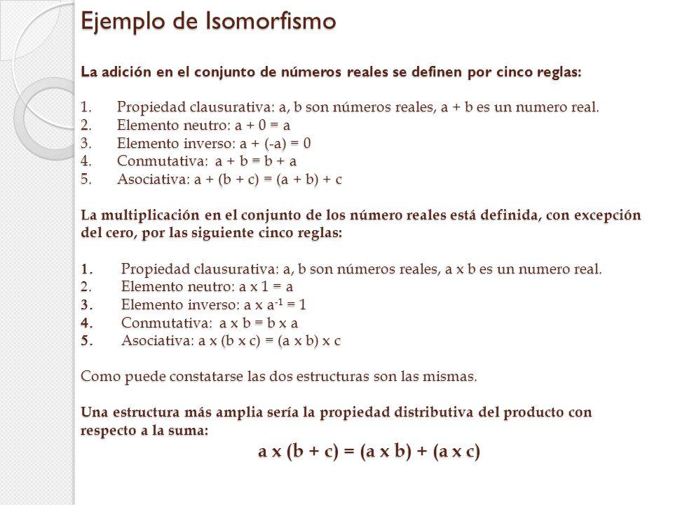 Ejemplo de Isomorfismo La adición en el conjunto de números reales se definen por cinco reglas: 1. Propiedad clausurativa: a, b son números reales, a + b es un numero real. 2. Elemento neutro: a + 0 = a 3. Elemento inverso: a + (-a) = 0 4. Conmutativa: a + b = b + a 5. Asociativa: a + (b + c) = (a + b) + c La multiplicación en el conjunto de los número reales está definida, con excepción del cero, por las siguiente cinco reglas: 1. Propiedad clausurativa: a, b son números reales, a x b es un numero real. 2. Elemento neutro: a x 1 = a 3. Elemento inverso: a x a-1 = 1 4. Conmutativa: a x b = b x a 5. Asociativa: a x (b x c) = (a x b) x c Como puede constatarse las dos estructuras son las mismas. Una estructura más amplia sería la propiedad distributiva del producto con respecto a la suma: a x (b + c) = (a x b) + (a x c)
