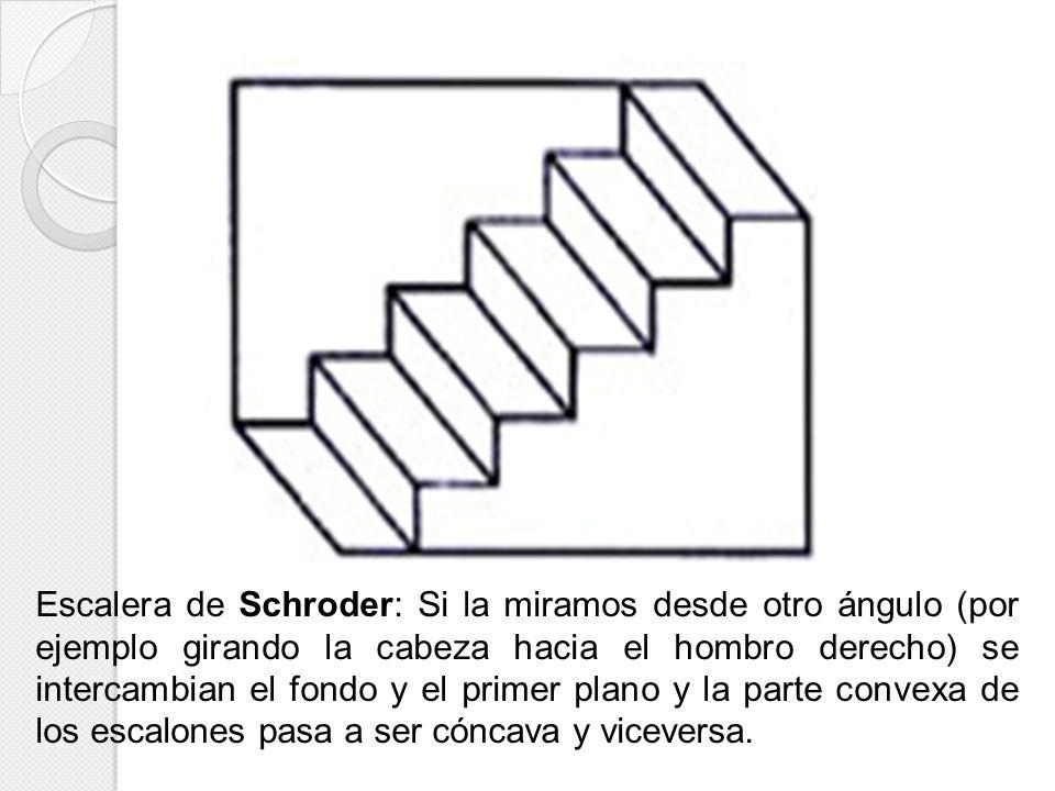 Escalera de Schroder: Si la miramos desde otro ángulo (por ejemplo girando la cabeza hacia el hombro derecho) se intercambian el fondo y el primer plano y la parte convexa de los escalones pasa a ser cóncava y viceversa.