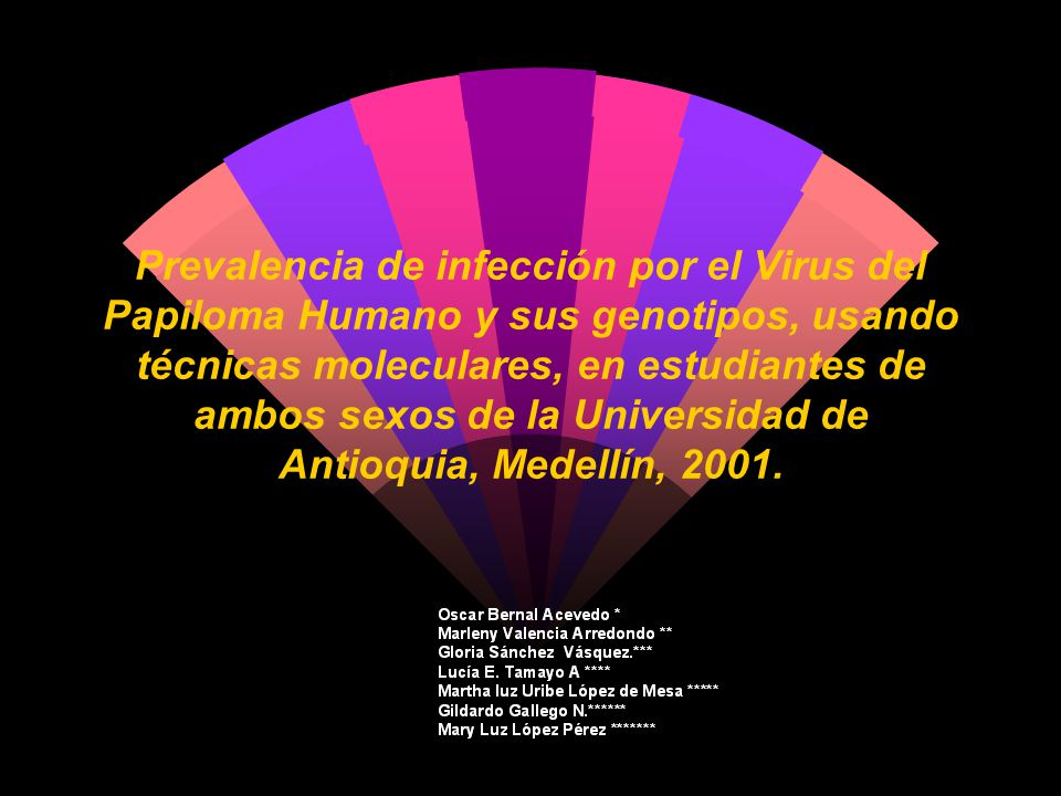 Prevalencia de infección por el Virus del Papiloma Humano y sus genotipos, usando técnicas moleculares, en estudiantes de ambos sexos de la Universidad de Antioquia, Medellín, 2001.