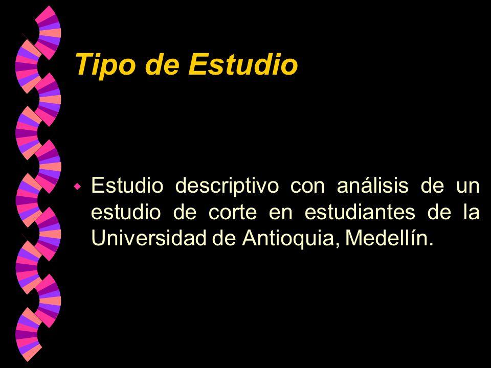 Tipo de Estudio Estudio descriptivo con análisis de un estudio de corte en estudiantes de la Universidad de Antioquia, Medellín.