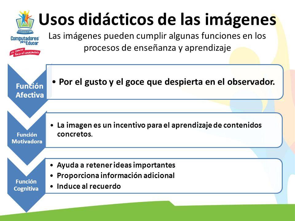 Usos didácticos de las imágenes Las imágenes pueden cumplir algunas funciones en los procesos de enseñanza y aprendizaje