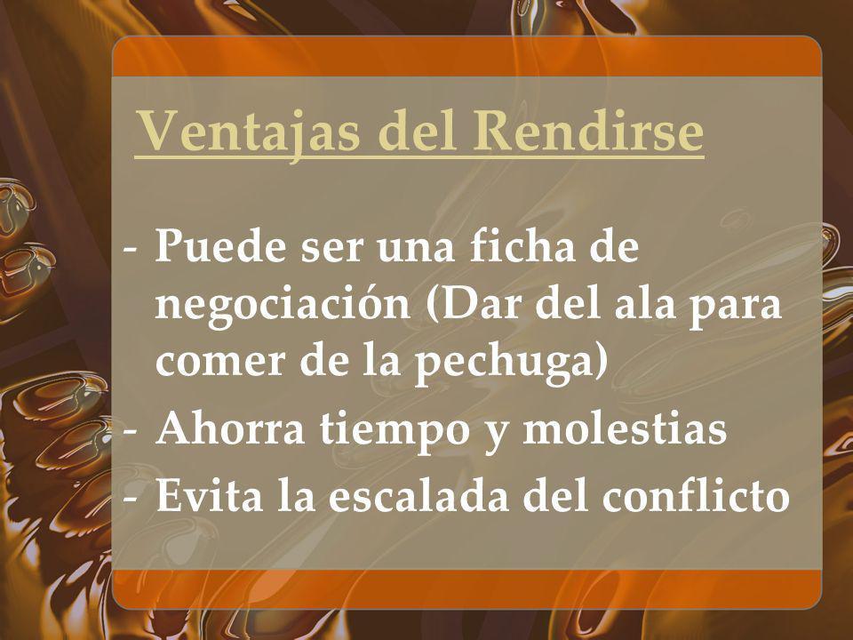 Ventajas del RendirsePuede ser una ficha de negociación (Dar del ala para comer de la pechuga) Ahorra tiempo y molestias.