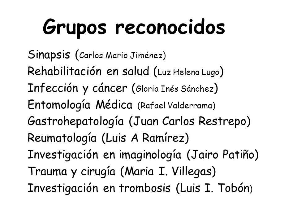 Grupos reconocidos Sinapsis (Carlos Mario Jiménez)